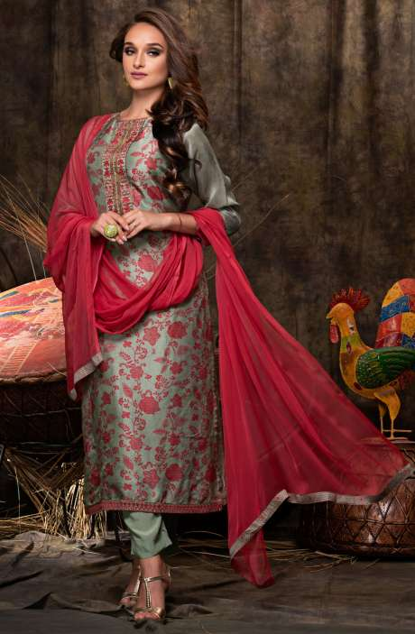 Deepavali Special Beautiful Digital Print with Embellished Chanderi Salwar Suit Sets In Pastel Green and Red - JAS2482