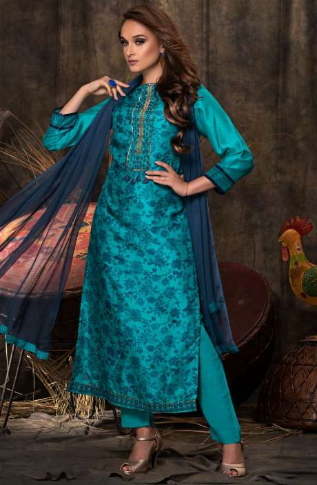 Wedding Collection Beautiful Digital Print with Embellished Chanderi Salwar Suit Sets In Firozi and Blue - JAS2486-R