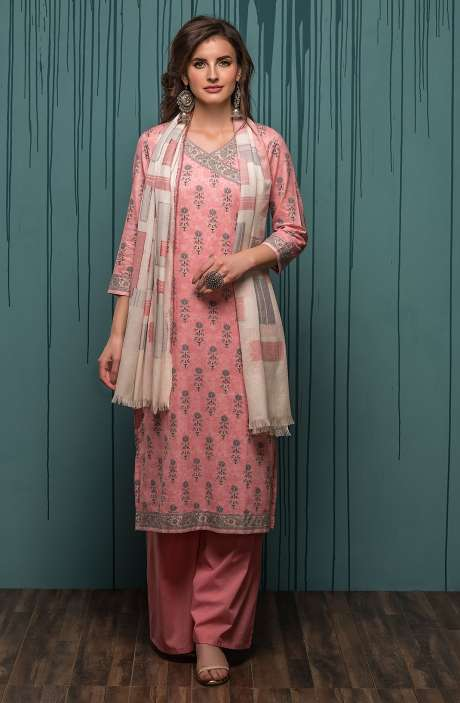 Digital Printed Ready-to-Stitch Cotton Salwar Kameez Sets In Pink & Grey - JHA1701B