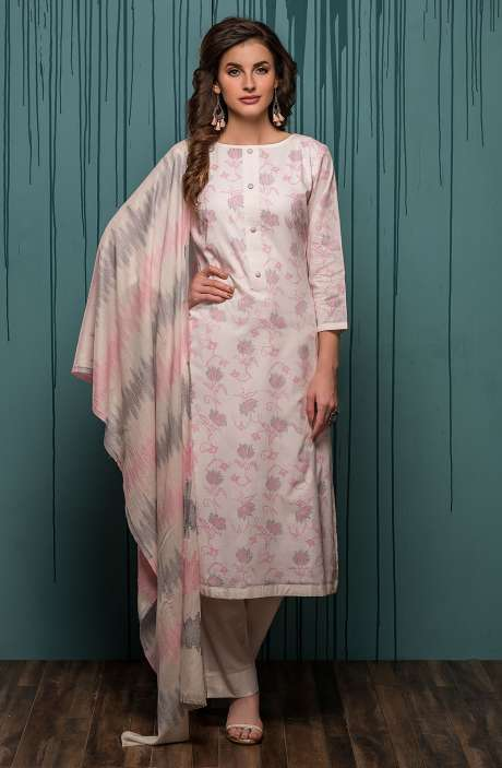 Digital Printed Ready-to-Stitch Cotton Salwar Kameez Sets In Cream & Baby Pink - JHA1702A