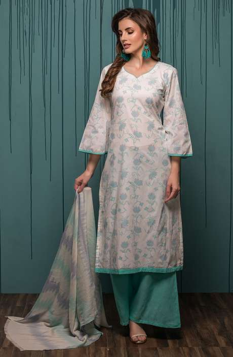 Digital Printed Ready-to-Stitch Cotton Salwar Kameez Sets In Cream & Turquoise - JHA1702B