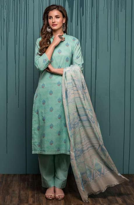 Digital Printed Ready-to-Stitch Cotton Salwar Kameez Sets In Turquoise - JHA1703B