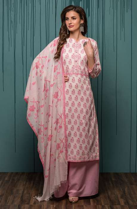 Digital Printed Ready-to-Stitch Cotton Salwar Kameez Sets In Cream & Baby Pink - JHA1704B