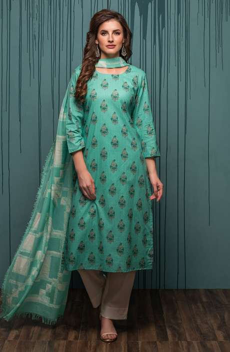 Digital Printed Ready-to-Stitch Cotton Salwar Kameez Sets In Green - JHA1705A