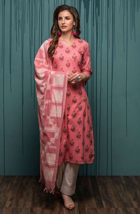 Digital Printed Ready-to-Stitch Cotton Salwar Kameez Sets In Pink - JHA1705B