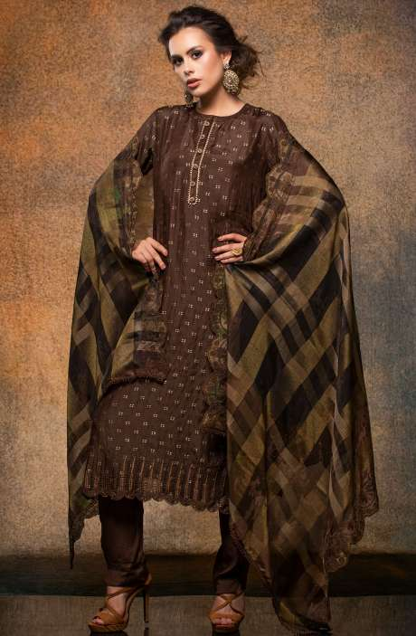 Designer Silk Jacquard Salwar Kameez In Coffee Brown - JIG2313