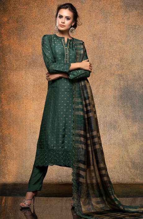 Designer Silk Jacquard Salwar Kameez In Bottle Green - JIG2316