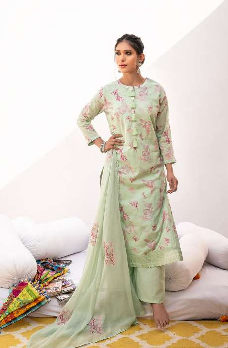 Cotton Lawn Digital Print Exclusive Salwar Suit In Sea Green with Trendy Kota Dupatta - JIN7015