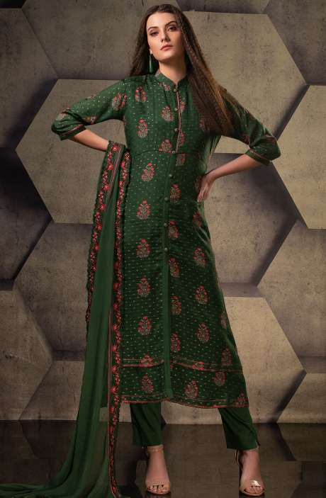 Exclusive Silk Digital Printed with Weaving Work Suit Sets In Bottle Green - JUG5100
