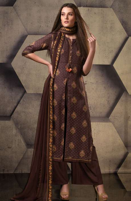 Exclusive Silk Digital Printed with Weaving Work Suit Sets In Coffee - JUG5102