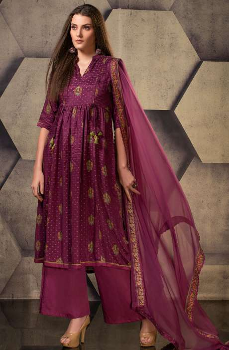 Exclusive Silk Digital Printed with Weaving Work Suit Sets In Purple - JUG5105
