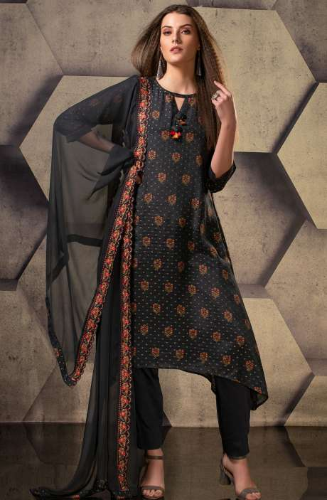 Cotton Silk Digital Printed with Weaving Work Suit Sets In Black - JUG5106