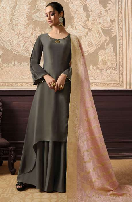 Designer Embellished Ready to Wear Dress In Grey and Peach - KAA281