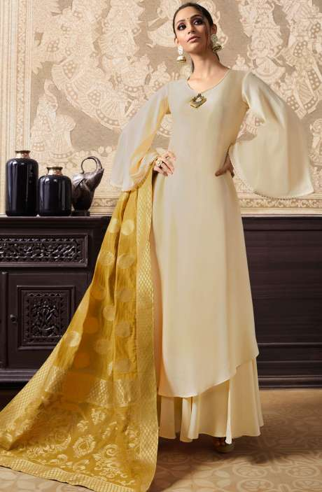 Designer Embellished Ready to Wear Dress In Cream and Mustard - KAA284