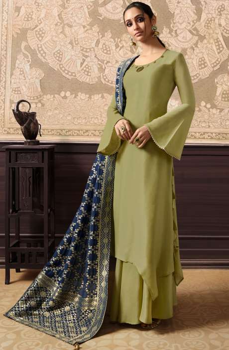Designer Embellished Ready to Wear Dresses In Mehndi Green and Blue - KAA285
