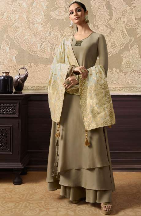 Designer Embellished Ready to Wear Dresses In Coffee Brown and Beige - KAA289