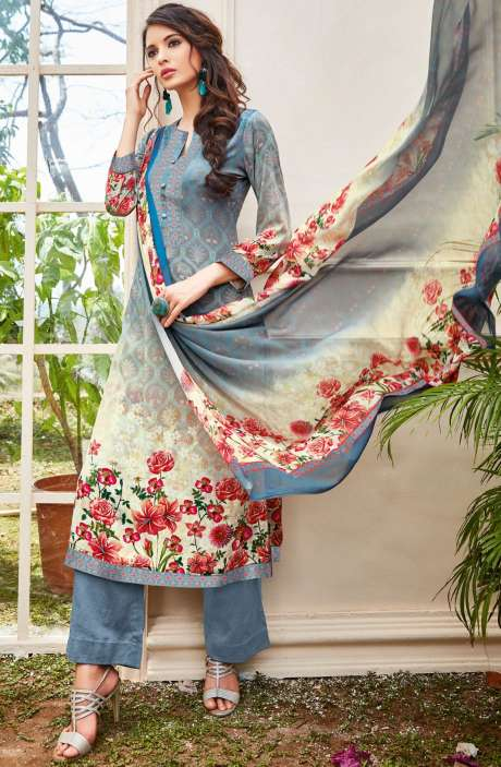 Spun Wool Digital Floral Print Multi and Grey Salwar Kameez with Chiffon Dupatta - KAI410