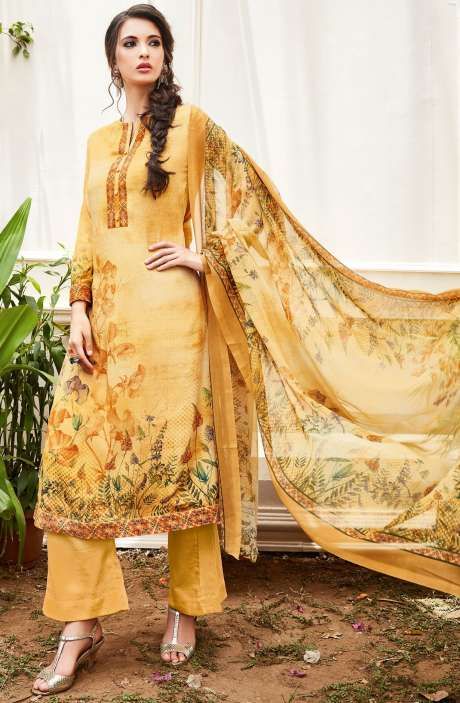 Spun Wool Digital Floral Print Multi and Mustard Salwar Kameez with Chiffon Dupatta - KAI415