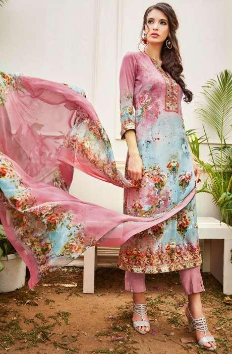 Spun Wool Digital Floral Print Multi and Pink Salwar Kameez with Chiffon Dupatta - KAI420
