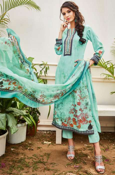 Spun Wool Digital Floral Print Multi and Turquoise Salwar Kameez with Chiffon Dupatta - KAI430