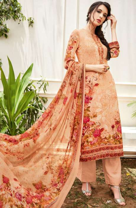 Spun Wool Digital Floral Print Multi and Peach Salwar Kameez with Chiffon Dupatta - KAI435