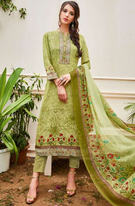 Spun Wool Digital Floral Print Multi and Green Salwar Suit with Chiffon Dupatta - KAI440