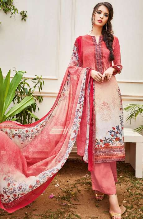 Spun Wool Digital Floral Print Multi and Peach Salwar Suit with Chiffon Dupatta - KAI445