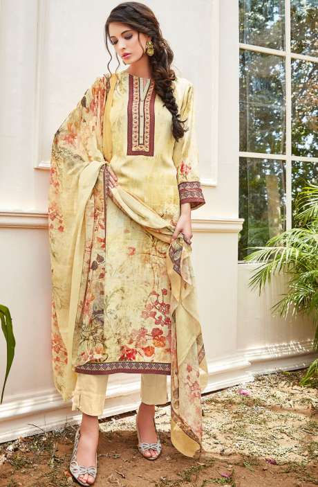 Spun Wool Digital Floral Print Multi and Cream Salwar Kameez with Chiffon Dupatta - KAI450
