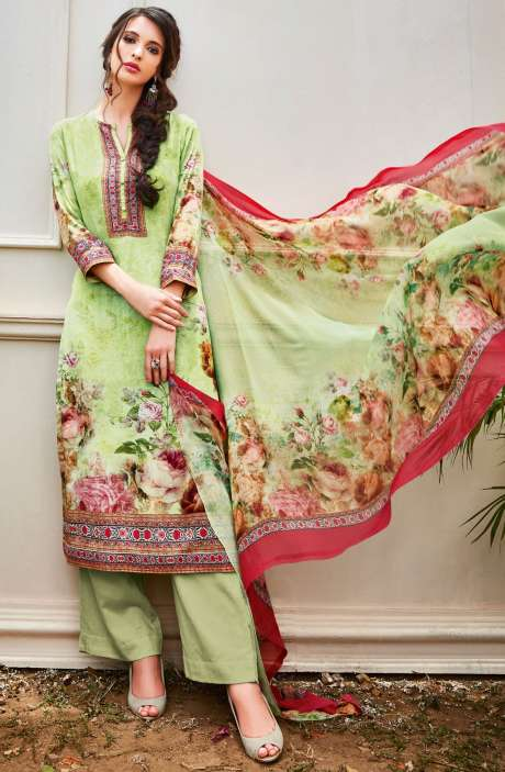 Spun Wool Digital Floral Print Multi and Green Salwar Kameez with Chiffon Dupatta - KAI455