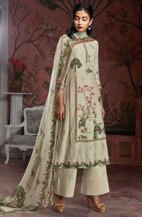 Modal Cotton Digital Print Salwar Suit Sets in Light Green - KAIC0187