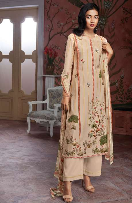 Modal Cotton Digital Print Salwar Suit Sets in Light Peach - KAIC0188