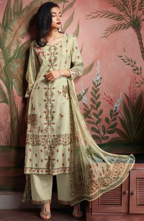 Modal Cotton Digital Print Salwar Suit Sets in Light Green - KAIC0189