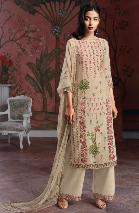 Modal Cotton Digital Print Salwar Suit Sets in Beige - KAIC0190