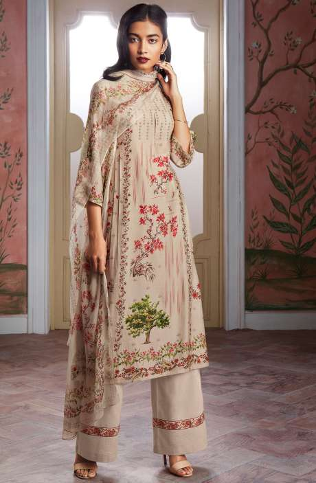 Modal Cotton Digital Print Salwar Suit Sets in Cream - KAIC0191