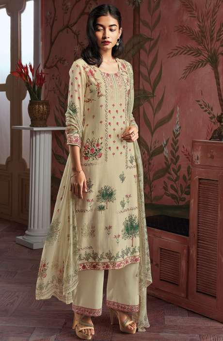 Modal Cotton Digital Print Salwar Suit Sets in Cream - KAIC0192