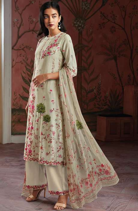Modal Cotton Digital Print Salwar Suit Sets in Light Green - KAIC0193