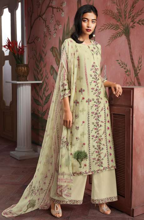 Modal Cotton Digital Print Salwar Suit Sets in Cream - KAIC0194