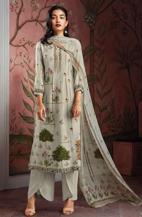 Modal Cotton Digital Print Salwar Suit Sets in Light Green - KAIC0195