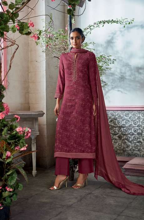 Cotton Satin Digital Printed with Embroidery and Hand Work Pink Salwar Suit - KAIS03