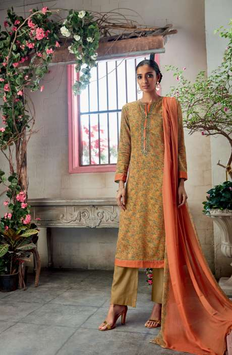 Cotton Satin Digital Printed with Embroidery and Hand Work Yellow Salwar Kameez - KAIS04