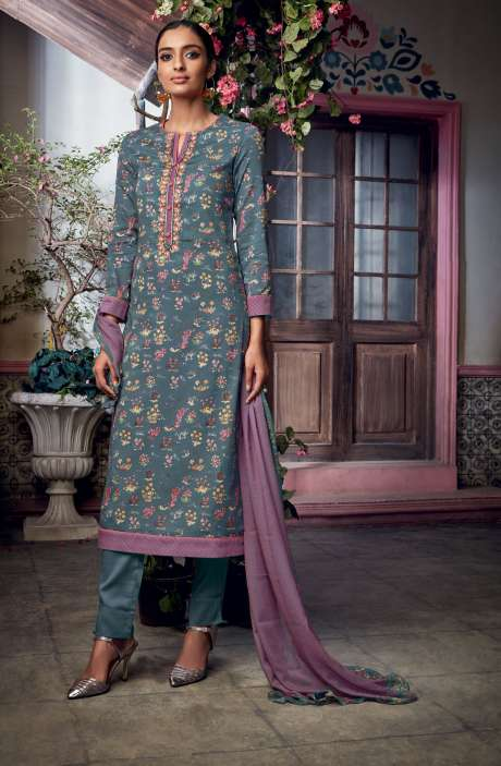 Cotton Satin Digital Printed with Embroidery and Hand Work Grey Salwar Kameez - KAIS05