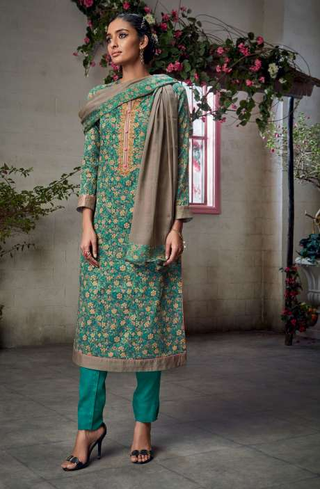 Cotton Satin Digital Printed with Embroidery and Hand Work Green Shalwar Kameez - KAIS06