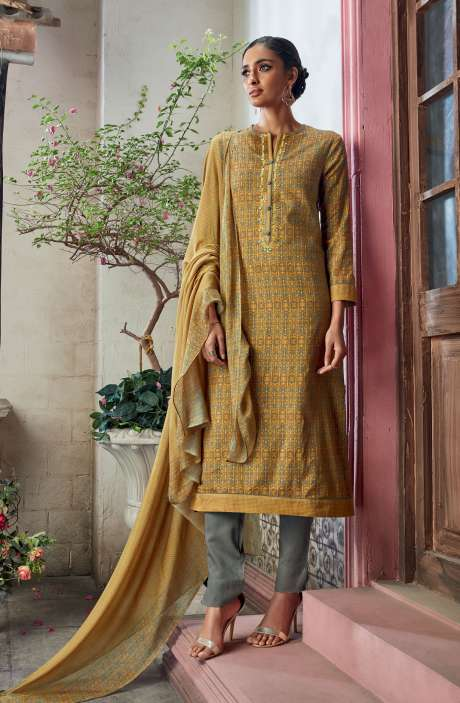 Cotton Satin Digital Printed with Embroidery and Hand Work Yellow Green Salwar Suit - KAIS07