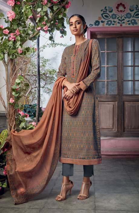 Cotton Satin Digital Printed with Embroidery and Hand Work Beige Green Salwar Kameez - KAIS08