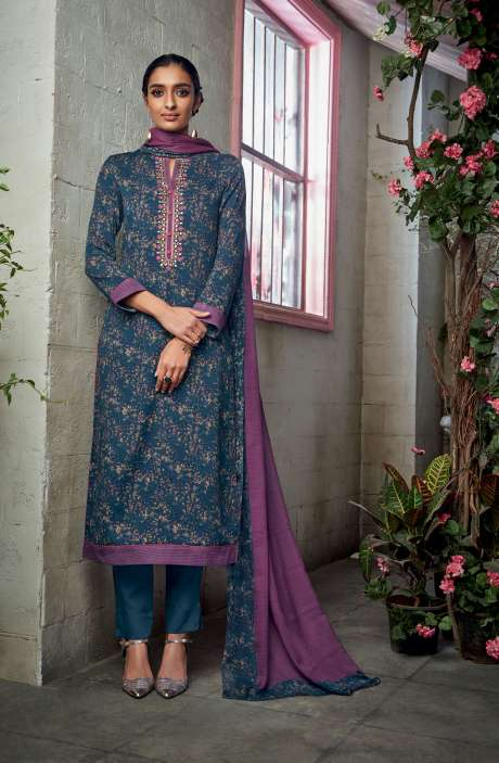 Cotton Satin Digital Printed with Embroidery and Hand Work Blue Salwar Suit - KAIS09