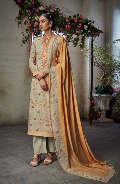 Cotton Satin Digital Printed with Embroidery and Hand Work Cream Salwar Suit - KAIS10