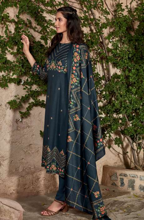Spun Winterwear Digital Printed Unstitched Salwar Kameez In Dark Blue - KAR553