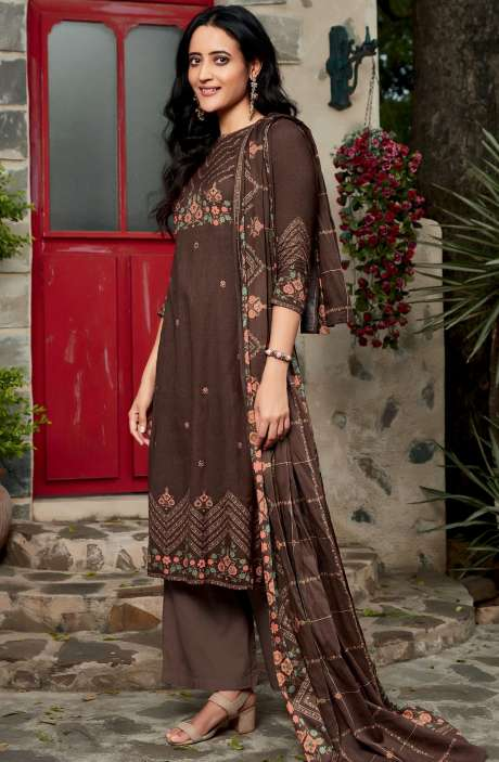 Spun Winterwear Digital Printed Unstitched Salwar Kameez In Chocolate Brown - KAR566