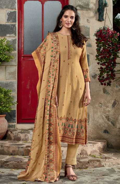 Spun Winterwear Digital Printed Unstitched Salwar Kameez In Mustard - KAR570