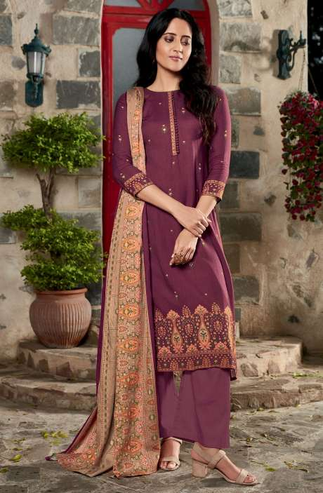 Spun Winterwear Digital Printed Unstitched Salwar Kameez In Wine - KAR585